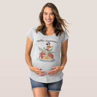 Simple Hello Summer Tropical Beach Maternity Shir Maternity T-Shirt