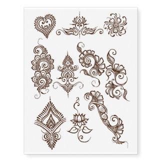 Simple henna design temporary tattoo sheet- Brown