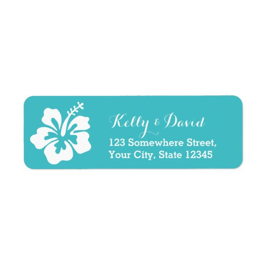 Simple Hibiscus Turquoise Wedding Return Address Return Address Label