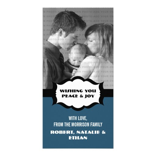 Simple Holiday Photo Card, Blue