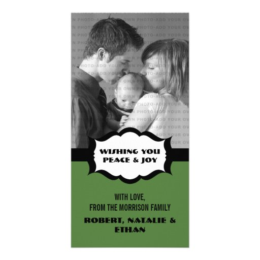 Simple Holiday Photo Card, Green