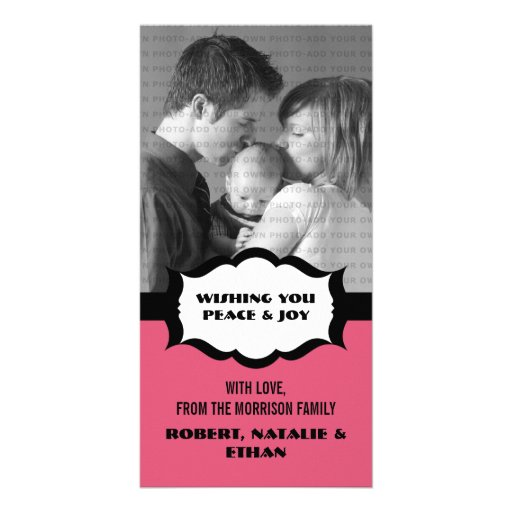 Simple Holiday Photo Card, Pink