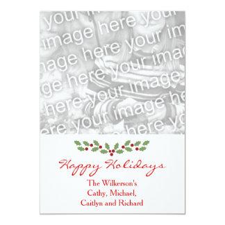 Simple Holly Custom Photo Card Happy Holidays 13 Cm X 18 Cm Invitation Card