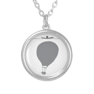 Simple Hot Air Balloon Graphic Silver Plated Necklace