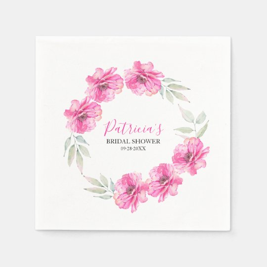 Simple Hot Pink Watercolor Flowers Bridal Shower Disposable Napkin