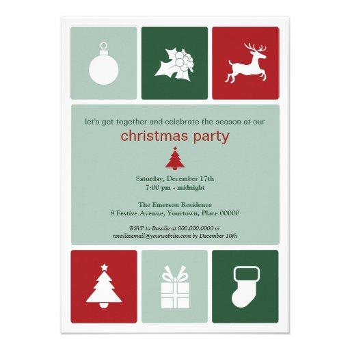 Simple Icons Christmas Party Invitation
