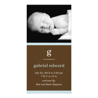 Simple Initial Baby Birth Announcement (Blue) Personalised Photo Card