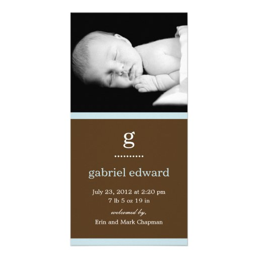 Simple Initial Baby Birth Announcement (Blue) Picture Card