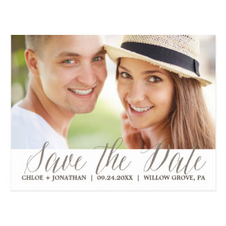 Simple Ivory Cream Calligraphy Save the Date Photo Postcard