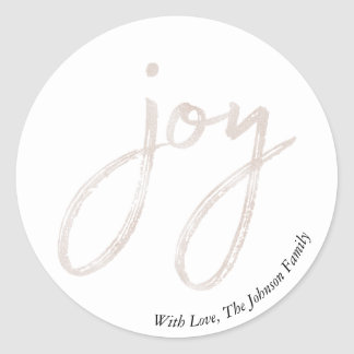 Simple Joy Faux Champagne Foil Christmas Holiday Classic Round Sticker