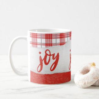 Simple Joy Unique Red and White Plaid Coffee Mug
