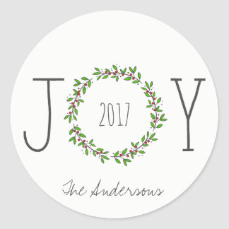 Simple Joy Wreath Christmas Holiday Classic Round Sticker