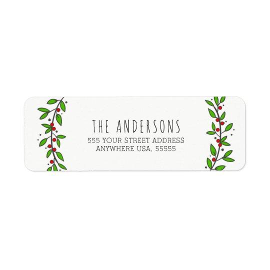 Simple Joy Wreath Modern Christmas Return Address Label