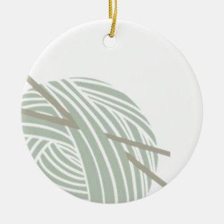 SImple Knitting Ball of Yarn Ceramic Ornament
