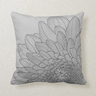 Simple Large Grey Graphic Sunflower | Throw Pillow