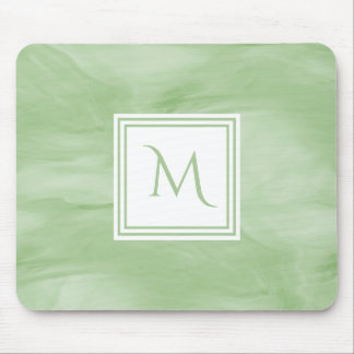 Simple Light Green Subtle Marble Modern Monogram Mouse Pad