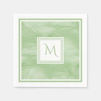 Simple Light Green Subtle Marble Modern Monogram Paper Napkin