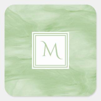 Simple Light Green Subtle Marble Modern Monogram Square Sticker