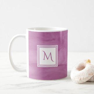 Simple Light Purple Subtle Marble Modern Monogram Coffee Mug