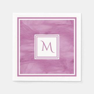 Simple Light Purple Subtle Marble Modern Monogram Disposable Serviette