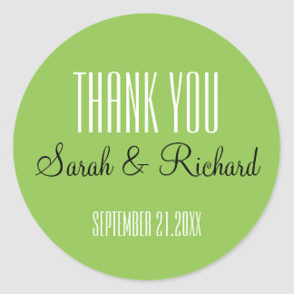 Simple Lime Green Wedding Thank You Round Sticker