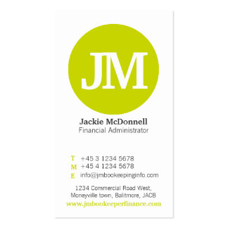 Simple lime grey white circle business card