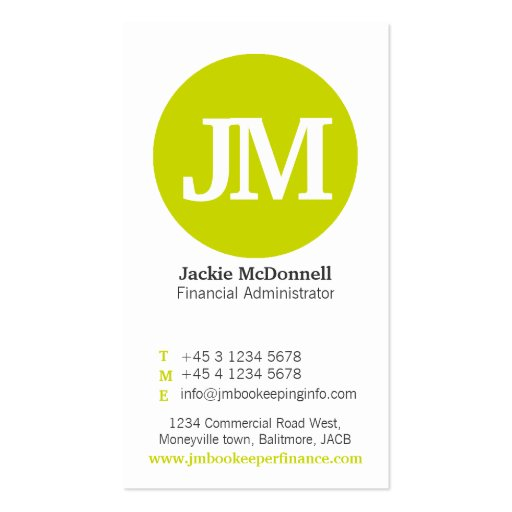 Simple lime, grey & white circle business card