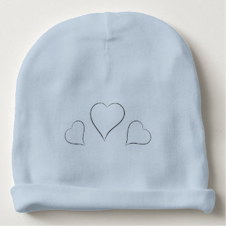 Simple Line Drawing Hearts Baby Beanie