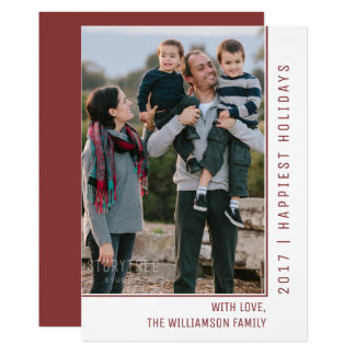 Simple Line Holiday Photo Card | Burgundy