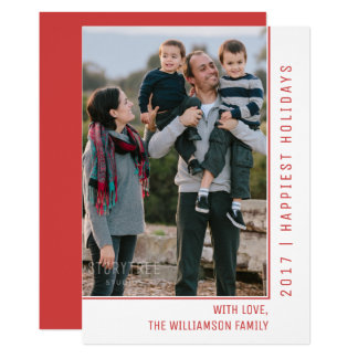 Simple Line Holiday Photo Card | Red