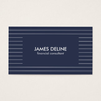 Simple Lined Blue Financial Consultant Business Card