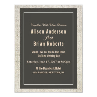 Simple Linen Wedding Invitation