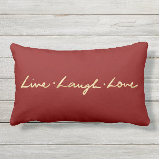 Simple Live laugh Love Gold Hand Lettered Outdoor Cushion