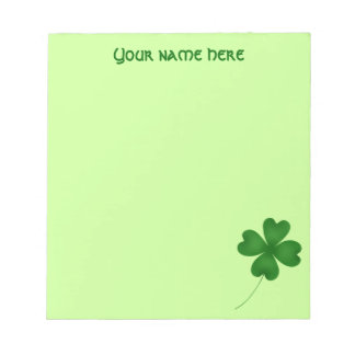 Simple lucky shamrock notepad