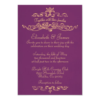 Simple Luxury Purple And Gold Wedding Invitations