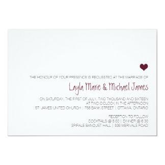 Simple Marsala heart wedding invitation