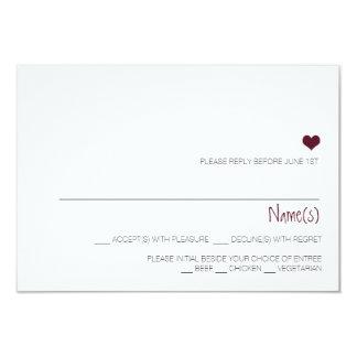 Simple Marsala heart wedding reply card