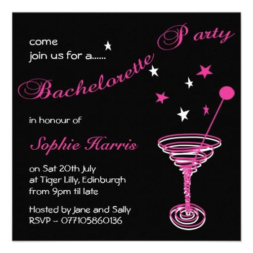 Simple Martini Swirl Bachelorette Party Custom Invites