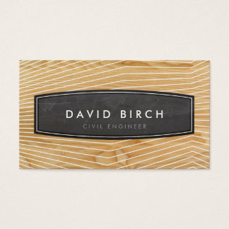 SIMPLE masculine chalkboard badge wood grain look Business Card