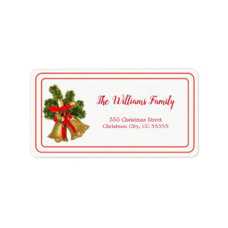 Simple Merry Christmas Bells Address Label