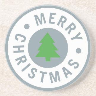 Simple Merry Christmas circle Coaster