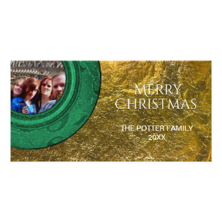 Simple Merry Christmas Photo Green Faux Gold Foil Personalised Photo Card