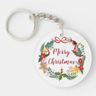 Simple Merry Christmas Wreath   Keychain