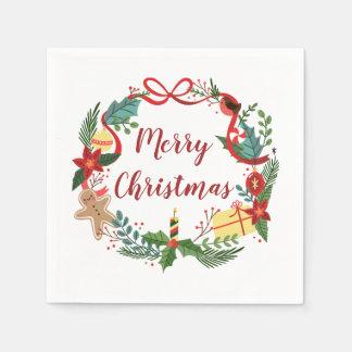 Simple Merry Christmas Wreath | Napkin Paper Serviettes