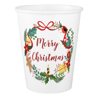 Simple Merry Christmas Wreath | Paper Cups