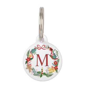 Simple Merry Christmas Wreath | Pet Tag