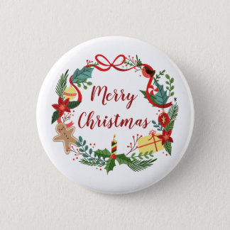 Simple Merry Christmas Wreath   Pin Button