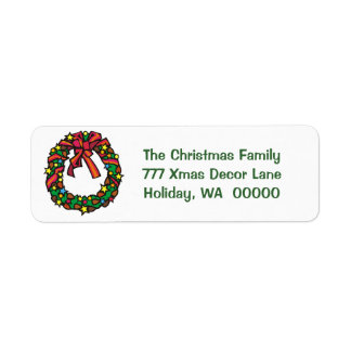 Simple Merry Christmas Wreath Return Address Label