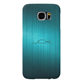 Simple Metallic Look Turquoise Blue Tones Monogram Samsung Galaxy S6 Cases