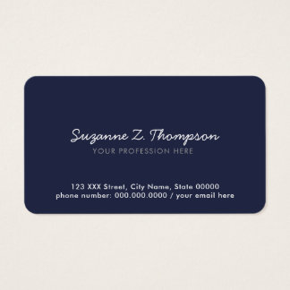 simple & minimal basic deep-blue professional business card